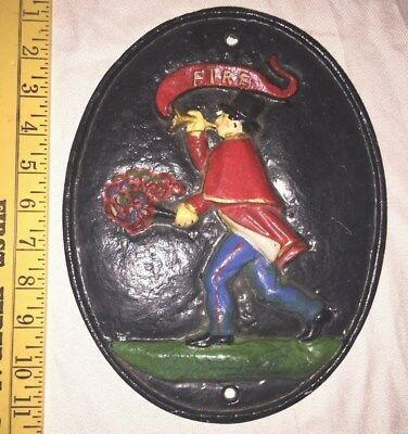 Vintage Cast Irom Fire Firefighter Insurance Plaque Hand Painted, Tooled Edges