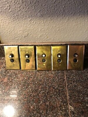 5 Works! Vintage Perkins 2 Push Button Switch Brass Plate Mother Of Pearl #110