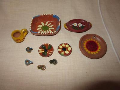 Vintage Mini MEXICAN POTTERY LOT Miniature Clay Dishes Cups Platters MEXICO