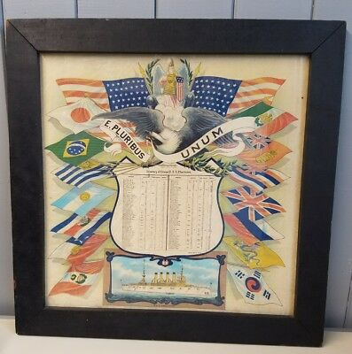 Vintage USS Charleston Itinerary of Cruise 1906 to 1910 Framed Silk Original