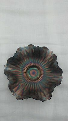 Fenton Blue Stippled Rays with Scale Band Exterior 7'' Ruffled Bowl