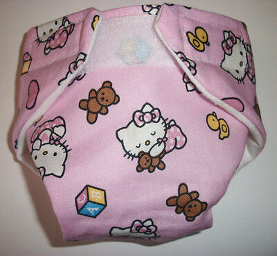Baby Doll Cloth Diaper Cat Kitten Bear  Fits Bitty Baby Alive Cabbage Patch
