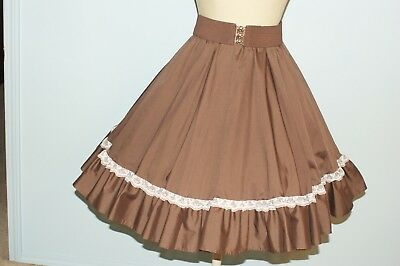 Square Dance Skirt - Brown with Two Belts