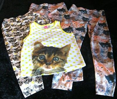 Lot of 4 Girls Clothes 3x Leggings + 1x Tank Top Size 14/16 Cat Cats Kittens