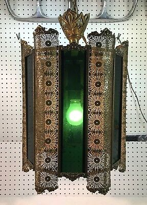 Antique Art Deco 1920's Hanging Pendant Light, 6 Sided Brass w/ Green Glass EXC!