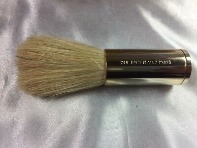 Vintage New Old Stock Shaving Brush 24K Gold Plated Brass Franklin Toiletry Co.