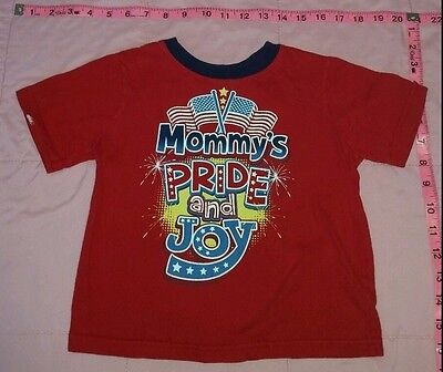 Boys MOMMYS PRIDE AND JOY Red White Blue TEE 3T FLAG Memorial Day Stars stripes
