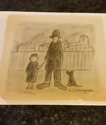 Old  Unframed Drawing Signed L S Lowry 1950  Man With Big Feet And Big Hat