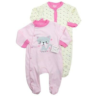 Baby Rock A Bye 2pcs Pink Cutie Cat Sleepsuits