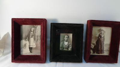 3 Antique VICTORIAN VELVET Frames deep box MAROON & FOREST GREEN over wood NYC