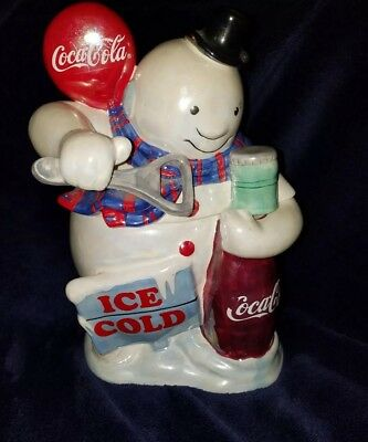 Coca-Cola Ice Cold Pearlized Snowman Cookie Jar