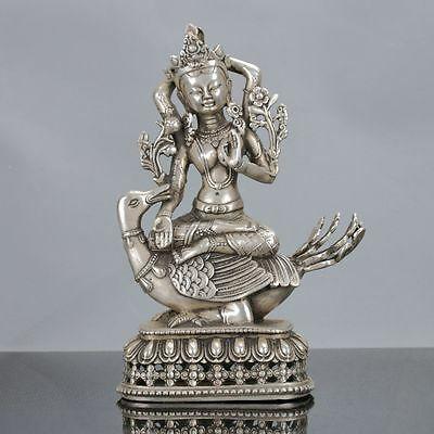 Chinese Collectable Tibet Silver Hand Carved Kwan-yin & Duck Statue