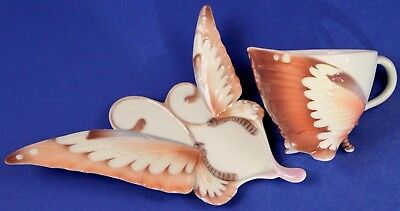 Retired Franz Butterfly Unusual Tea Cup & Elongated Saucer
