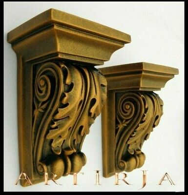 Pair of Corbels,(2 IN TOTAL) ACANTHUS LEAF Scroll, Shelf, Rococo Style,gold