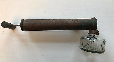 Vintage Hudson? Wood Handle, Clear Glass Pump Insect Sprayer / Duster