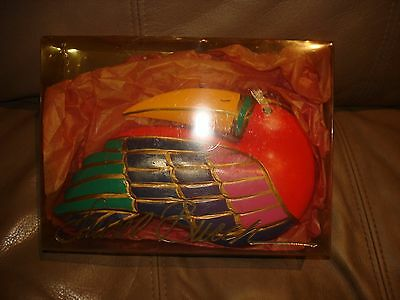 Laurel Burch Rare Hand Painted Bird Wood Sculpture New In Box