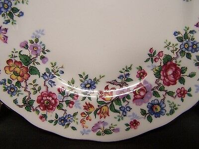"CROWN Staffordshire Bone China SPRINGTIME 2 BREAD PLATES 6 1/4"" Gold Trim LOVELY"