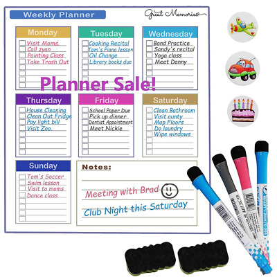 "magnetic dry erase whiteboard calendar for refrigerator-16"" x 11""- weekly board"