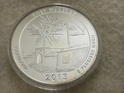 5 oz. Silver America The Beautiful 2013 Fort McHenry in a airtight capsule