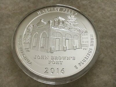 5 oz. Silver America The Beautiful 2016 Harpers Ferry in a airtight capsule