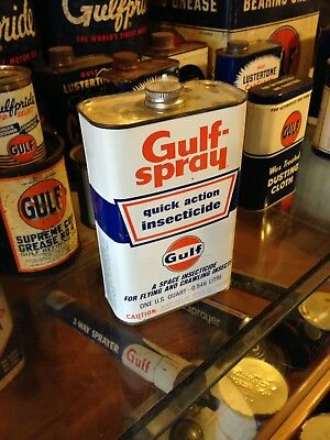 Gulf Oil Can Gulfspray Gulflube  Gulfpride Gas Station Car Rack Tire 1960's NICE