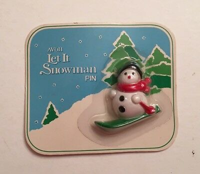 Vtg 1982 New on Card Avon Let It Snowman Christmas Holiday Pin Skis Skiing