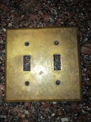 Vintage Double Light Switch Cover Plate Original Solid Tarnished Brass #124