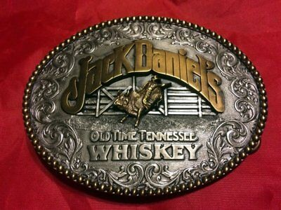 Jack Daniel's Old Time Tennessee Whiskey Rodeo Brass Belt Buckle New without Tag