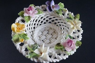 Vintage Crown Staffordshire Porcelain Woven Floral Basket bone china flowers