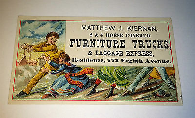 Antique Victorian 2 & 4 Horse Covered Furniture Trucks US Advertising Trade Card