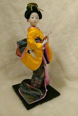 CHINESE GEISHA DOLL ON STAND Posable Arms