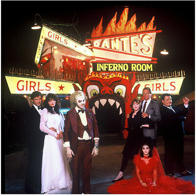 Beetlejuice cast in wedding attire in front of Inferno Room 8 x 10 Inch Photo