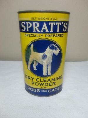 Vintage Spratts Dogs Cats Dry Cleaning Powder Tin Fox Wire Hair Terrier Nr