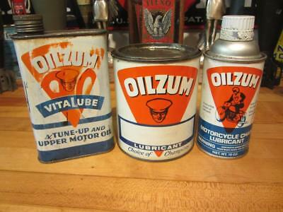 Vintage LOT OF 3 OILZUM GREASE OIL CAN tin old gas station sign