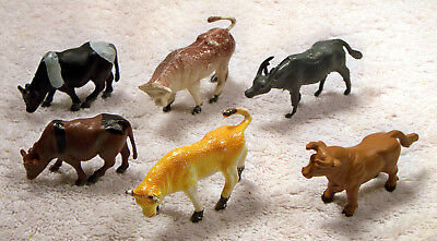 Lot of 6 Bull/Steer/Male Cows all Different Colors and Shapes Farm Animals