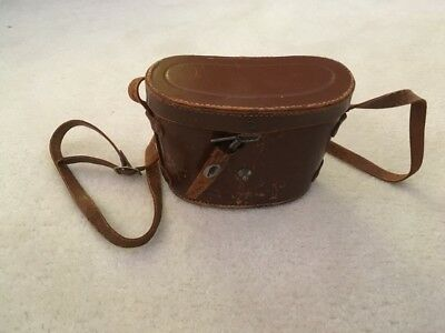 Occupied Japan Vintage Antique Leather Binocular Case with strap red interior