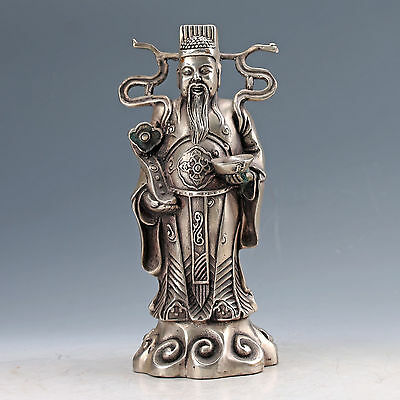 Chinese Collectable Silver Copper Hand Carved God Of Wealth Statues