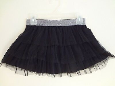 Performance girl layered skirt black with silver elastic waist 7/8 Freestyle New