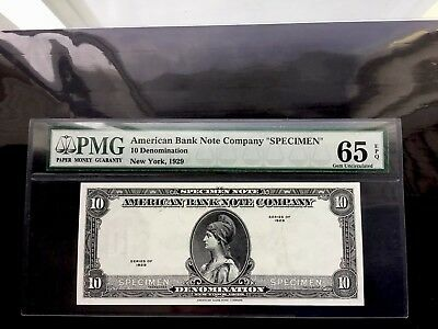 Us 1929 10 Denomination Specimen Test Note. Pmg 65 Epq.