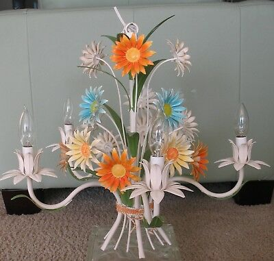 Minty Vintage Mid Century Modern Tole Daisy Flower Floral 5 Arm Chandelier Italy
