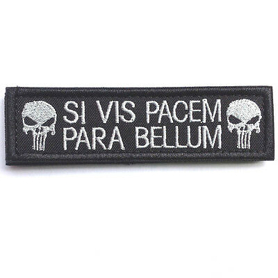 Si Vis Pacem Para Bellum Punisher Skull Tactical Usa Army Morale Hook Patch Dark