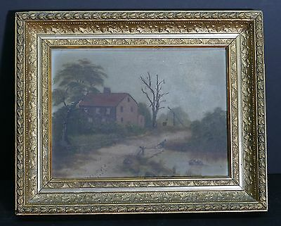 Antique 1800's Deep Ornate Gilded Frame W/ 1800's French Landscape Painting