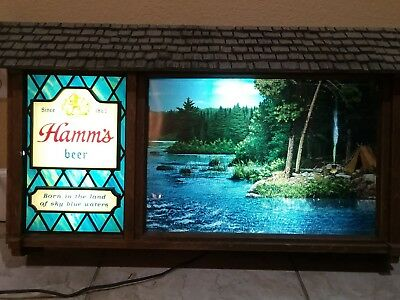 HAMMS LARGE Vintage Lighted  Beer Sign Campground Scene