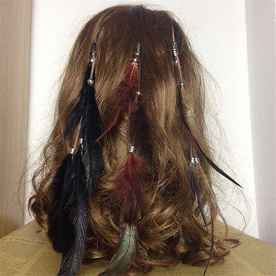 Bohemian Women Girls Real Feather Headband Hair Clips on Hair Extensions