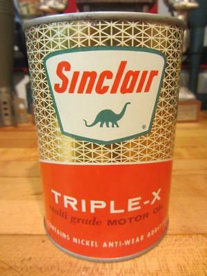 Vintage SINCLAIR TRIPLE-X Motor Oil Full Quart Metal CAN gas station sign