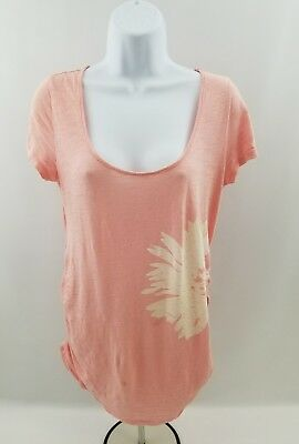 Old Navy Womens Materlity Pink Top Shirt Flower Graphic Ruched Sides Size S/P