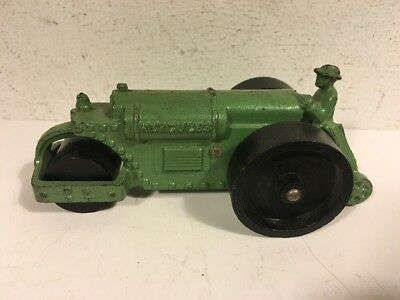 """Vintage Green Hubley Cast Iron Hercules Road Roller 4 1/2"""" Nice Toy"""