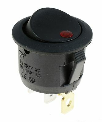 Red illuminated Dot Round Rocker Switch Automotive 12V SPST