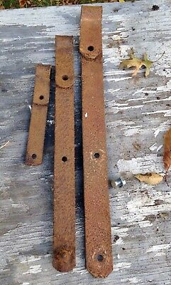 3 Strap Hinges Hand Forged Wrought Iron for Barn Door 19th c Antique 21 in 18, 9