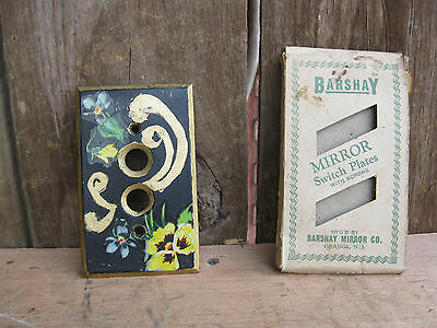 Vintage Brass Push Button Switch Plate Hand Painted with Original Box